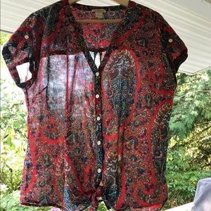Lucky Brand Red Floral Cotton Blouse, Size XL